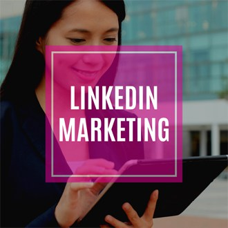 cover photo for linkedin marketing pillar page, woman in the computer